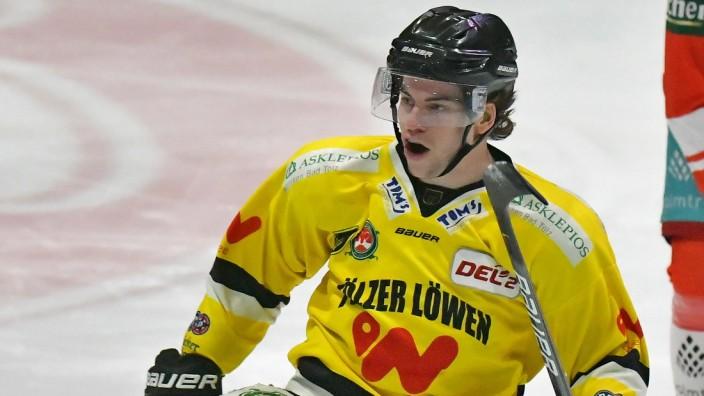 02.03.2021, xblx, Eishockey DEL2, EC Bad Nauheim - Toelzer Loewen emspor, v.l. Max French (Tölzer Löwen), Goal scored, T; Max French