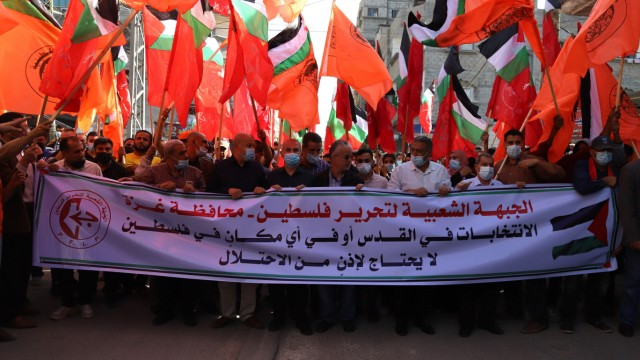 May 1, 2021, Gaza city, Gaza Strip, Palestinian Territory: Palestinian supporters of the Popular Front for the Liberati