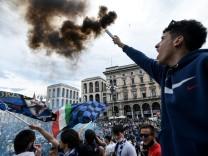 Fans von Inter Mailand feiern die Meisterschaft 2021
