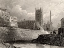 Manchester England from the River Irwell showing the new buildings including an imposing factor