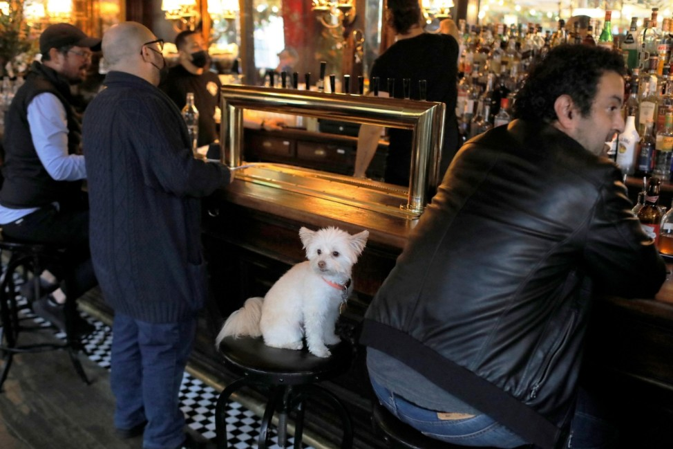 Restrictions ease for bars, allowing seating at the bar, during the coronavirus disease (COVID-19) in Manhattan, New York City.