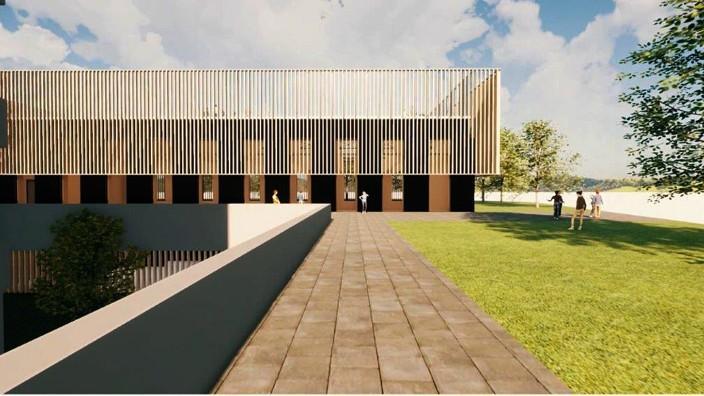 Anne-Frank-Gymnasium Erding: So soll die neue Sporthalle am Anne-Frank-Gymnasium aussehen. Die Holzverstrebungen dienen auch als Ballfangzaun, oben liegt ein Hartplatz.