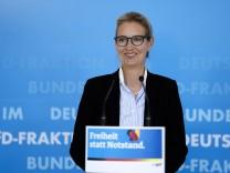 Statement der AfD Fraktion vor der Fraktionssitzung Aktuell, 20.04.2021, Berlin, Dr. Alice Weidel bei ihrem Statement im