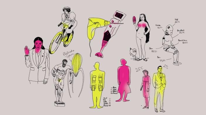 """Design und Gender: Er nutzt """"Werkzeuge"""", sie """"Haushaltshilfen"""". Ihm ist warm, sie friert. Er radelt gut, sie zwickt der Sattel: Illustrationen aus dem Buch von Rebekka Endler."""