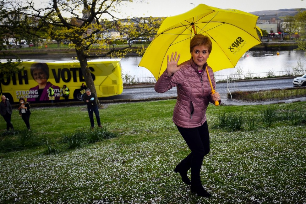 Scotland's First Minister and SNP leader Sturgeon campaigns in Dumbarton