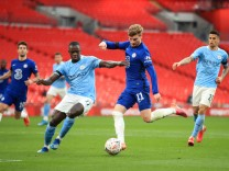 Chelsea v Manchester City - FA Cup - Semi Final - Wembley Stadium Chelsea s Timo Werner (right) and Manchester City s B; City chelsea