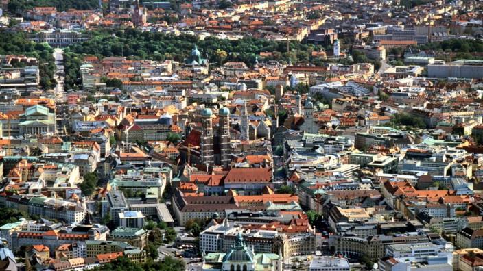 München, Stadtansicht, Innenstadt, Altstadt, Zentrum, City, Stadtzentrum, Skyline, Stadtteil, Stadtviertel, Luftaufnahm
