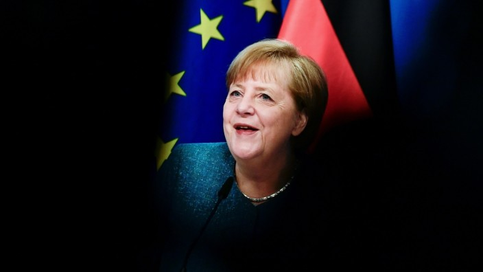 German Chancellor Merkel attends virtual discussion during Youth Politics Days in Berlin