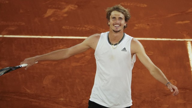 Mutua Madrid Open - Day Eleven Alexander Zverev of Germany in action against Matteo Berrettini of Italy (not seen) durin