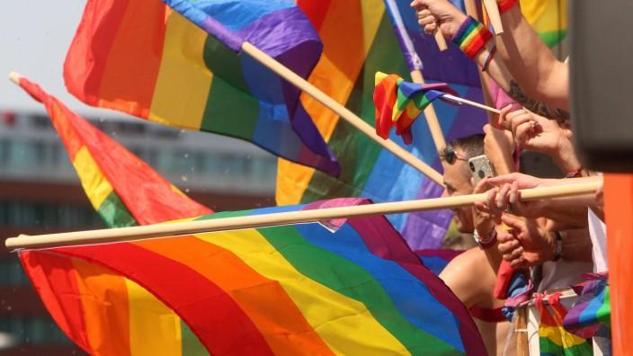 CSD Christopher Street Day in Frankfurt Hessen Deutschland Hände schwenken Regenbogenflaggen von
