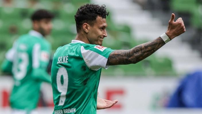 08.05.2021, Fussball, Saison 2020/2021, Bundesliga, 32. Spieltag - SV Werder Bremen - Bayer 04 Leverkusen Davie Selke (S