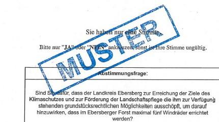 Bürgerentscheid Windräder, Wahlzettel