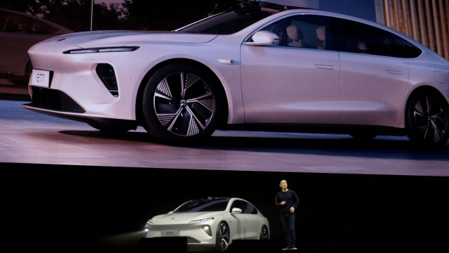 FILE PHOTO: William Li, founder and chief executive officer of Chinese electric vehicle maker Nio, unveils Nio's ET7 sedan at a product launch event in January