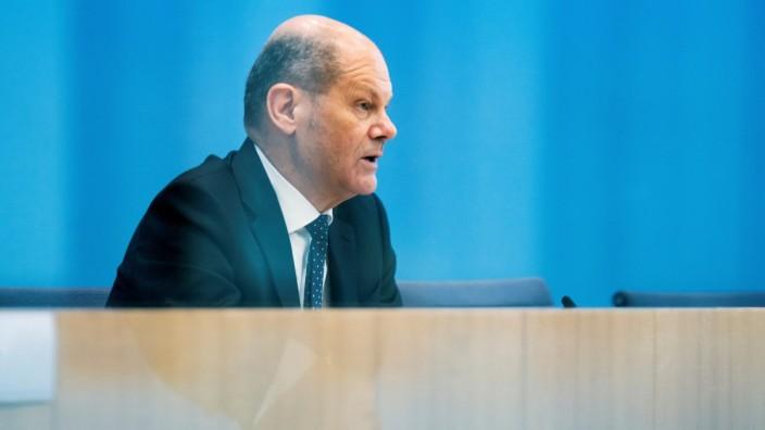Olaf Scholz bei einer Pressekonferenz in Berlin