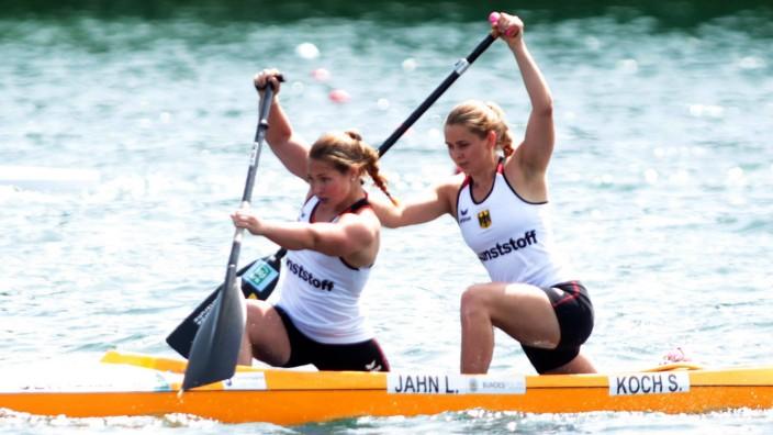 08 06 2018 Belgrade Serbia ECA Canoe Kayak sprint European Championship EM Europameisterschaft C2 w; Lisa Jahn