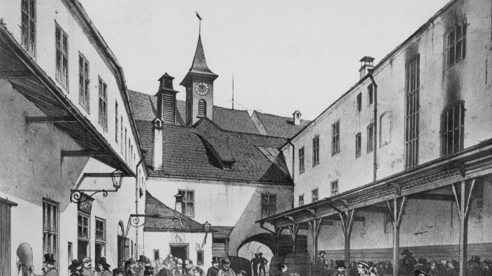 Hof des Hofbräuhauses in München, 1840