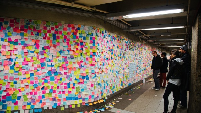 Subway Therapy post US election art project in New York