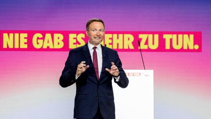 Frisch im Amt bestätigt: Christian Lindner an diesem Freitag auf dem weitgehend digitalen Parteitag der Freien Demokraten in Berlin.