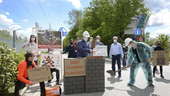 Heizkraftwerk Nord: Protestaktion gegen Erdgaskraftwerk, 2021