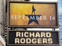 A Broadway show marquee for Hamilton is pictured in New York City