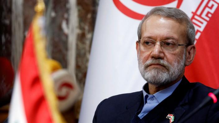 FILE PHOTO: Iranian parliament speaker Ali Larijani attends a news conference in Damascus