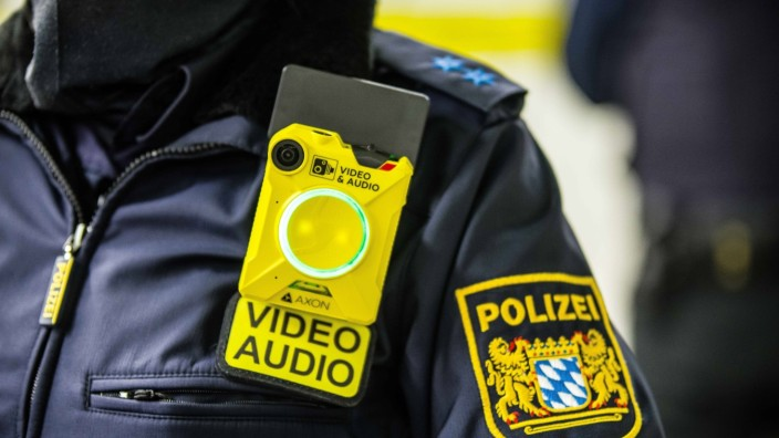 December 7, 2020, Munich, Bavaria, Germany: Munich police with their wearable bodycams by Axon. Together with the Munic