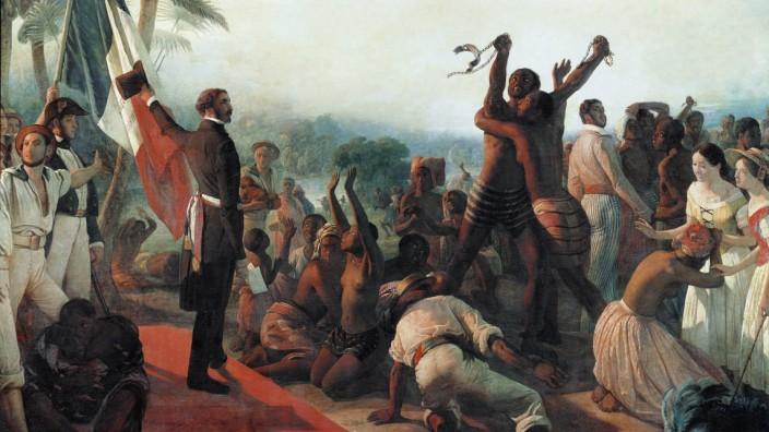 Proclamation de l abolition de l esclavage dans les colonies francaises le 23 avril 1848 Peinture de