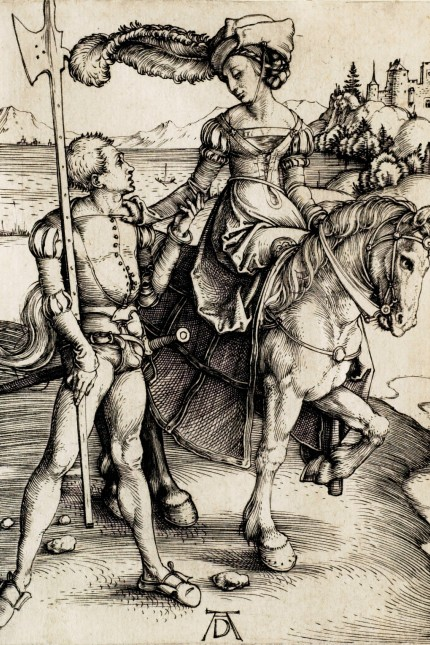 Albrecht Dürer, German, 1471 1528, The Lady on Horseback with the Halberdier, 1496 98, Engraving on paper, Overall: 4 5/