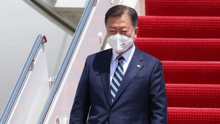 Wichtige Reise: Südkoreas Präsident Moon Jae-in nach seiner Ankunft in den USA.