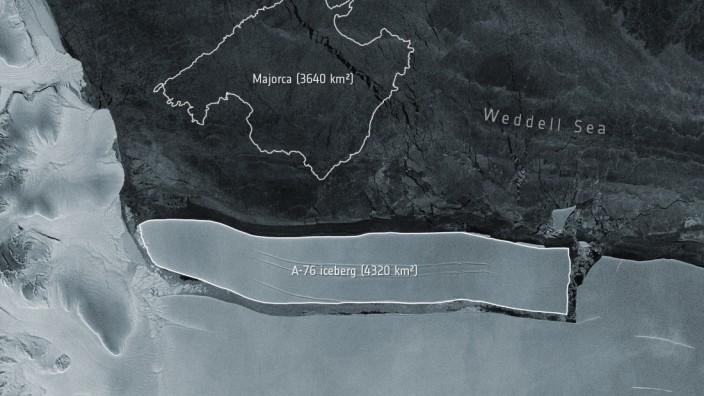 Polkappen: A76, derzeit der weltgrößte Eisberg