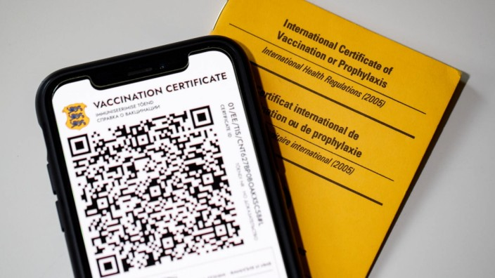 20.05.2021. Tallinn. Corona vaccination certificate, vaccination passport, QR code. Digital and paper covid-19 vaccinati