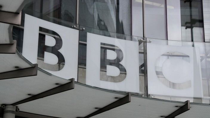 Signage is seen at BBC Broadcasting House offices and recording studios, London