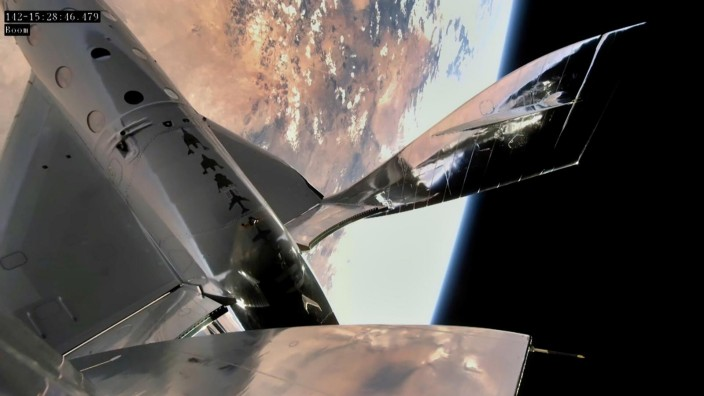 Virgin Galactic's VSS Unity is seen during its first manned spaceflight