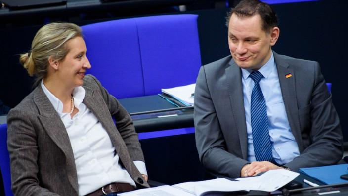 Alice Weidel, Vorsitzende der AfD-Bundestagsfraktion, und Tino Chrupalla, Co-Parteichef.