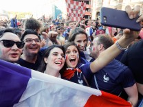 July 15 2018 Saint Petersburg Russia France supporters celebrate after the FIFA World Cup WM W