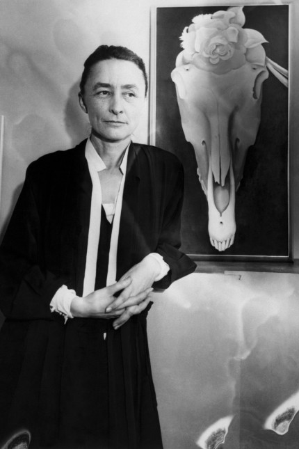 Georgia O'Keeffe at Exhibit of Her Work