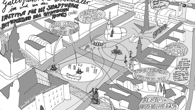 """Berlin: """"Galoppierende Denkmäler"""": Eine Grafik von Erik Göngrich gibt eine Übersicht über den Platz in der Mitte Berlins."""