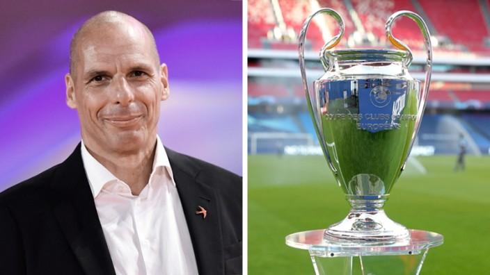 Yanis Varoufakis und der Champions League Pokal. Kombo für Sport