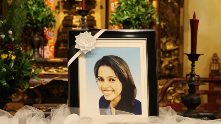 May 29, 2021, Tokyo, Japan - This picture shows the altar of a funeral service of Sri Lankan woman Wishma Sandamali who