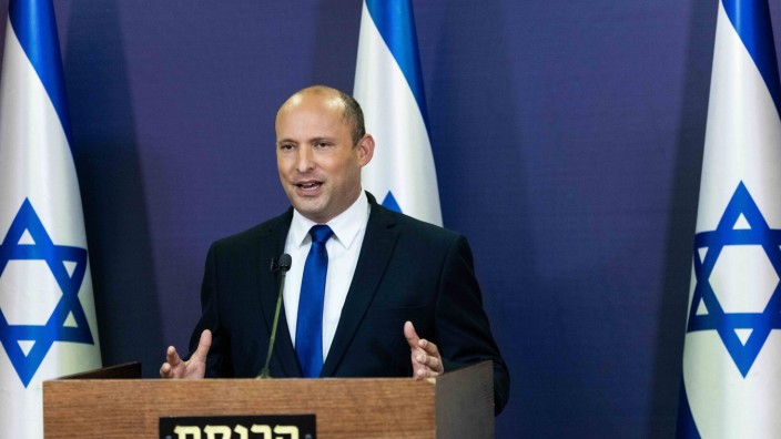 Leader of the Yemina party, Naftali Bennett, delivers a political statement in the Knesset ,the Israeli Parliament, in