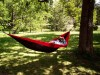 May 30, 2021, Ottawa, on, Canada: Sam Akkawi relaxes in his hammock in the Dominion Arboretum in Ottawa, on Sunday, May