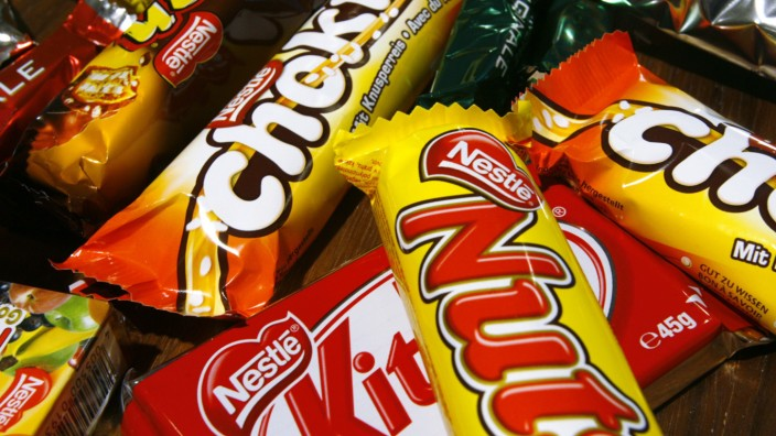 Chocolate bars are pictured in the employees' supermarket at the Nestle headquarters in Vevey
