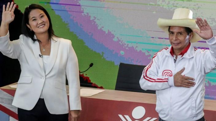 Peru's presidential candidates Castillo and Fujimori in their last debate ahead of the June 6 run-off election, in Arequipa, Peru