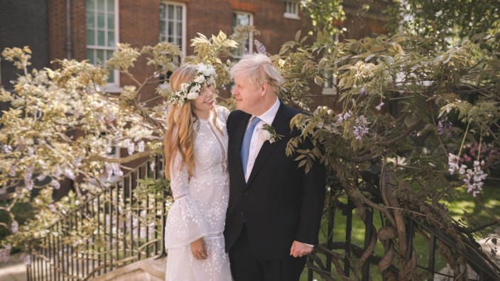 Boris and Carrie Johnson are seen in the garden of 10 Downing Street, after their wedding, in London