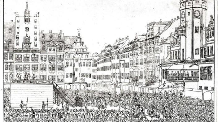 Johann Christian Woyzecks Hinrichtung am 27. August 1824 auf dem Marktplatz in Leipzig, Federlithografie von C. G. H. Geißler Originalbeschriftung: I. C. Woyzeck geht seinem Tode als reuevoller Christ entgegen, auf dem Marktplatze zu Leipzig. den 27. Augu