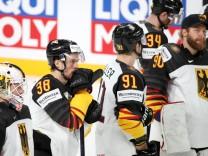 RIGA, LATVIA - JUNE 5, 2021: German players react to defeat in a 2021 IIHF World Championship, WM, Weltmeisterschaft sem