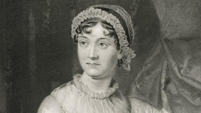 Jane Austen 1775 1817 English Novelist Seated Portrait Steel Engraving Portrait Gallery of Emi