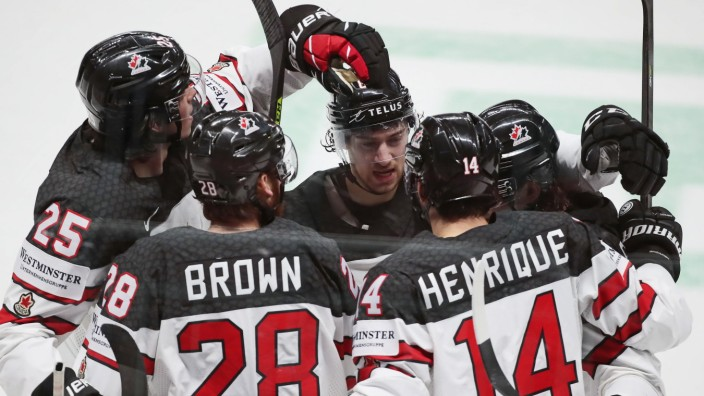 RIGA, LATVIA - JUNE 6, 2021: Canadian players celebrate a goal scored against Finland in their 2021 IIHF World Champions