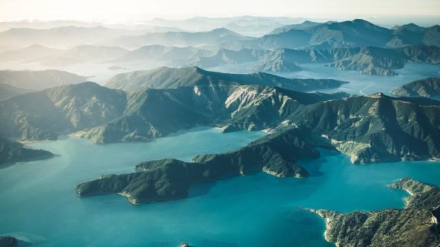 New Zealand South Island bays and mountains from the air Picton, Marlborough, New Zealand PUBLICATIONxINxGERxSUIxAUTxONL