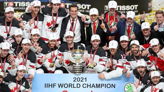 RIGA, LATVIA - JUNE 6, 2021: Canadian players pose with their trophy as they celebrate victory over Finland in their 202